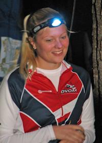 Corrine Porter starting the Hickory Run Night-O, photo by Julie Keim