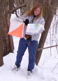 Sharon Siegler in the snow at Nockamixon, photo by Petr Hartmann
